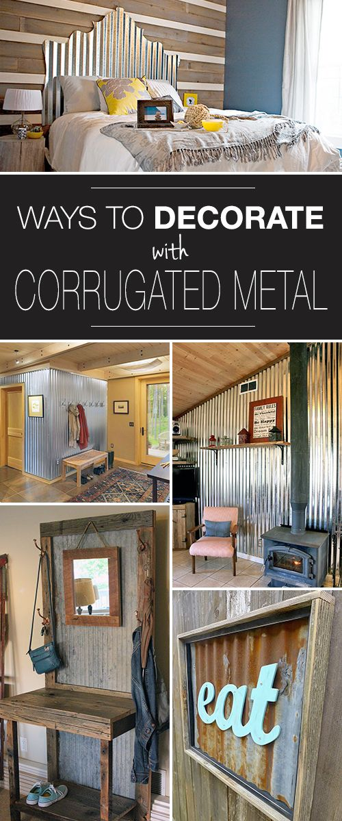 Clever Ways to Decorate with Corrugated Metal! • Check out all these ways to use corrugated metal in your home. Some good ideas.