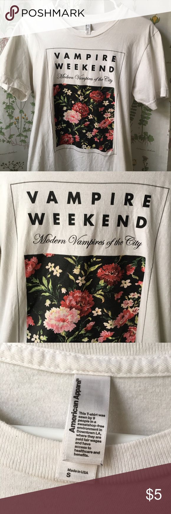 Vampire Weekend Tee Size small tour t shirt. printed on american apparel tee. worn maybe twice so it's still in great condition 👍🏼from a smoke free home. no trades please. listed as uo for views. Urban Outfitters Tops Tees - Short Sleeve