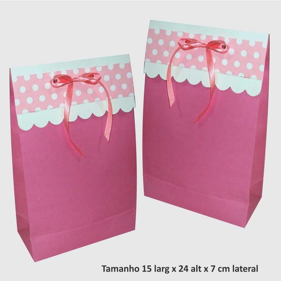 Saco de papel com aba decorada tamanho 15 larg x 24 alt x 7 cm lateral várias cores Ideal para presentes, lembrancinhas, etc  ** Escolha a cor desejada R$ 1,45
