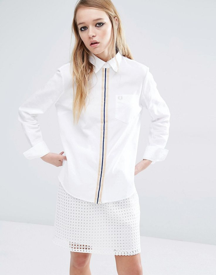 Fred Perry Boyfriend Shirt With Tipped Placket