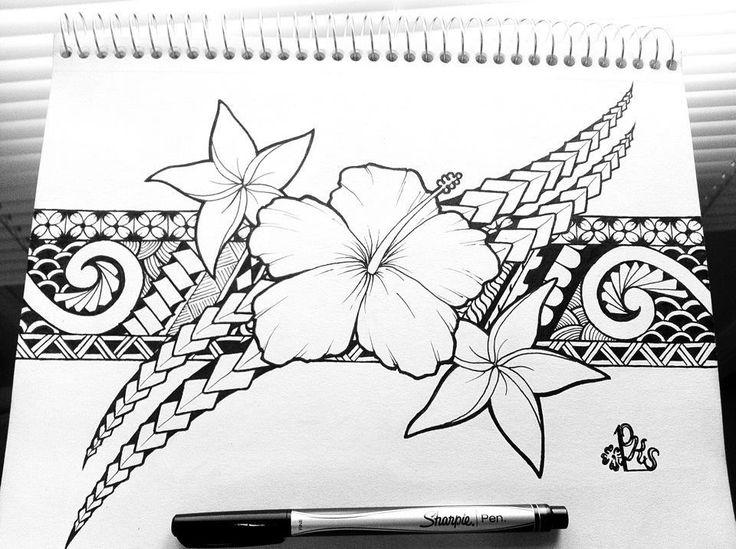Traditional Flower Line Drawing : Samoan ink samoa plumeria flower band