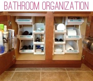 Use your vertical space with these stackable bins to keep your under-sink area organized! Don't forget your label maker!