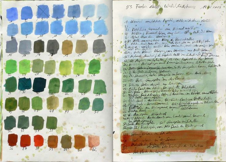 Martin Stankewitz, field sketchbook color chart, June (clearing: sky, trees, berries). Not art itself, but process and learning to see.
