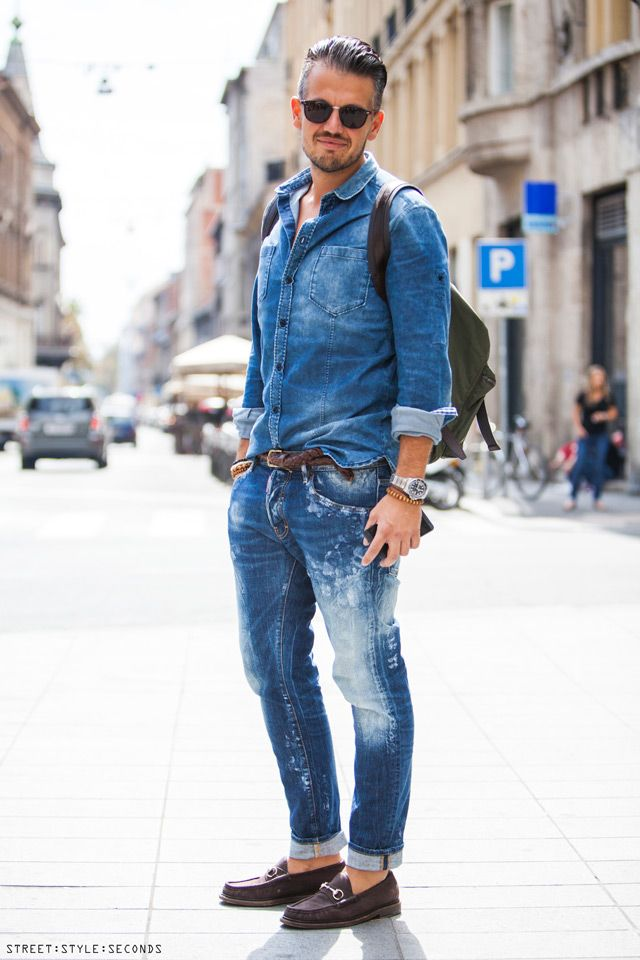 Guys In Denim Head To Toe. On The Streets Of Zagreb