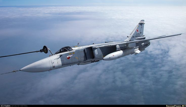 "Sukhoi Su-24 ""Fence"" getting some gas."