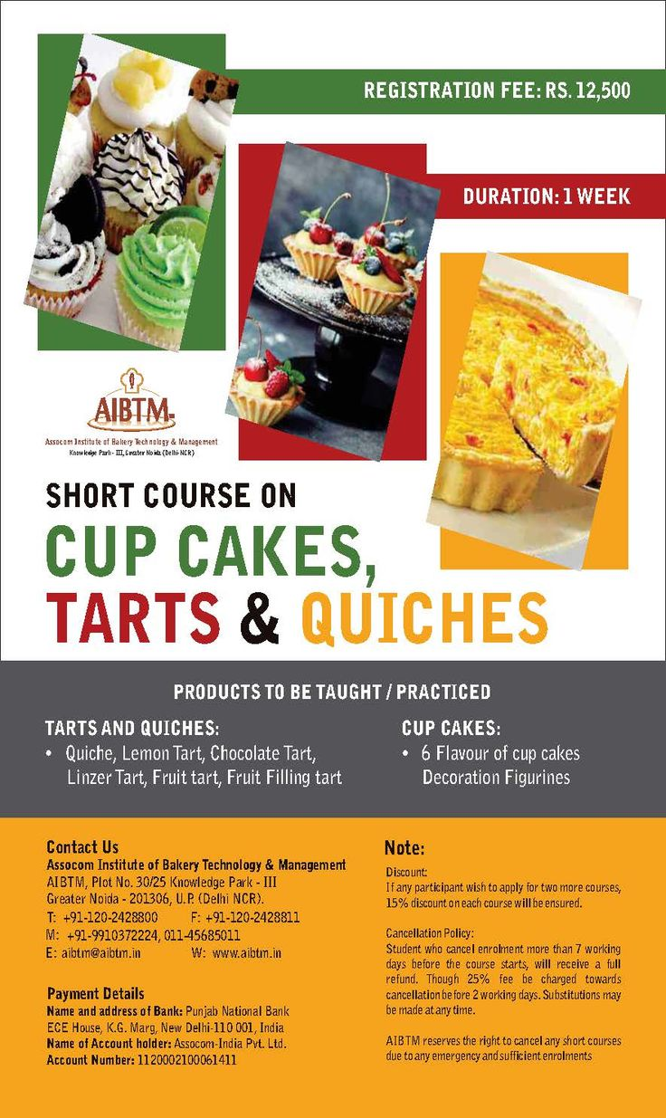 """Learn making """"#CupCakes #Tarts #Quiches"""" at #AIBTM. #BestBakerySkillingInstitute. on May 15, 2017. Enroll fast at aibtm@aibtm.in"""