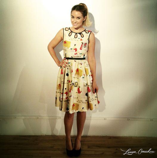 Lauren Conrad wearing a Kate Spade dress and LC Lauren Conrad pumps #NYFashionWeek