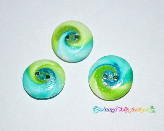 Handmade Polymer Buttons 3 Green and Blue by KrissysKnitDesigns, $3.50