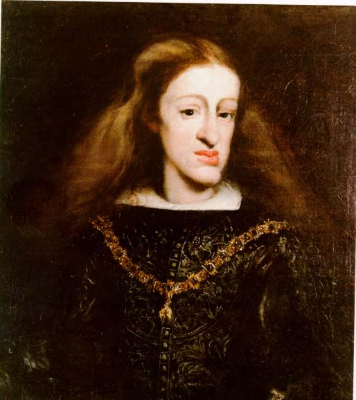Charles was the last of the Spanish Hapsburgs. He died in 1700 at the age of 39. The poor guy could barely speak, let alone produce an heir. So much for interbreeding to preserve the royal quality of the dynasty. The gene pool was so shallow that only half the babies born to the dynasty during that period lived to be one year old, compared to 80% of the village children of that time and place. Poor Charles was severely disabled mentally & physically, had strange outbursts, convulsions…