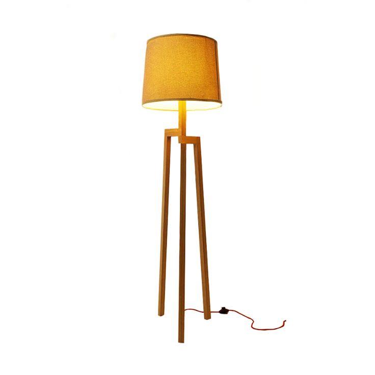 Lampada da terra con 3 piedi in legno