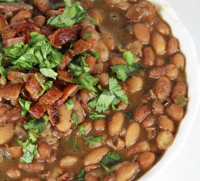 Drunken Mexican Beans with Cilantro and Bacon -- Sounds YUMMY for Fall/Winter weather!