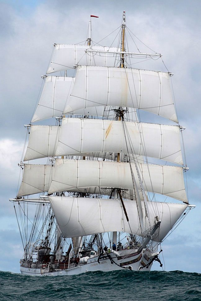 The Norwegian Navy's training vessel STATSRAAD LEHMKUHL is a 3-masted barque launched in 1914.
