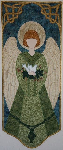 Messenger Angel, by Laurie Tigner --- Here's a warm and welcoming angel with prominent wings and an intricate celtic knot border. This Messenger Angel is cradling a dove, the symbol of love, faith, and peace. She would make a striking decoration in a front entry hall. For a contemporary look, her robe could be done in royal purple, with a hot turquoise background and a silver celtic border.