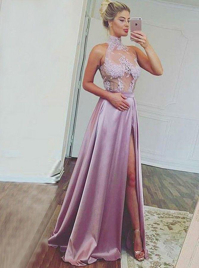 a15d3499cabd A-Line High Neck Lavender Stretch Satin Prom Dress with Split Appliques, halter neck prom dresses,long prom dresses,lavender prom dresses,backless  prom ...