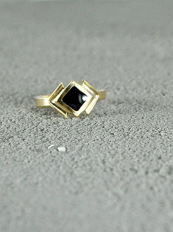 Gold Ring with Enamel Diamond Center,Urban Style,Street Chic,layered rings,urban chic, stylish ring,trendy ring,black enamel,black and gold by FreebirdBracelets on Etsy
