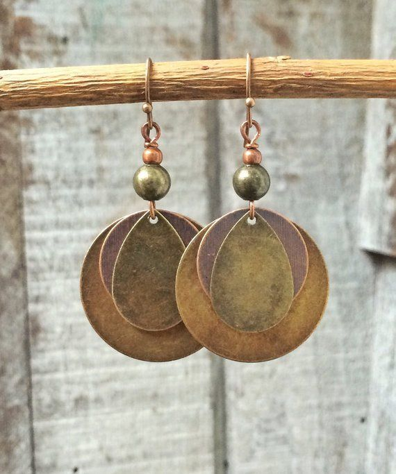 Mixed Metal Earrings with Antiqued Copper and Brass