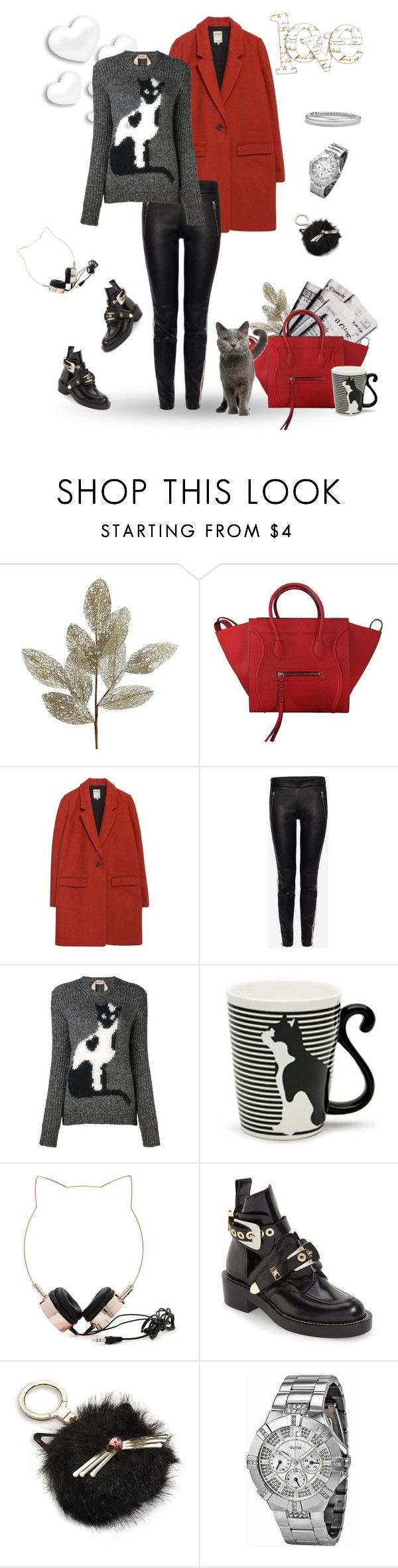 """""""Cat"""" by murenochek ❤ liked on Polyvore featuring Pier 1 Imports, 7 For All Mankind, CÉLINE, Zara, Alexander McQueen, N°21, Miya Company, Forever 21, Balenciaga and Kate Spade"""