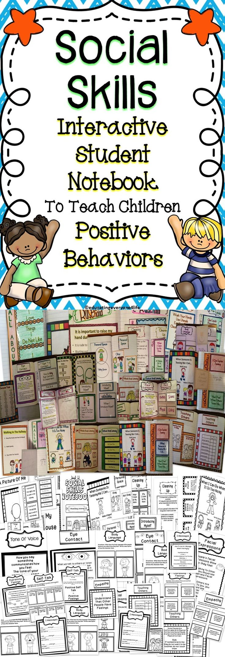 This Interactive Notebook Is All About Social Skills. Children will learn positive social skills to use in their everyday life. #teach Repinned by SOS Inc. Resources pinterest.com/sostherapy/.