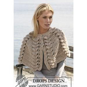 "Ladies' Cape Crochet Pattern with Shell Design in DROPS ""Eskimo"" - FREE Crochet Pattern"