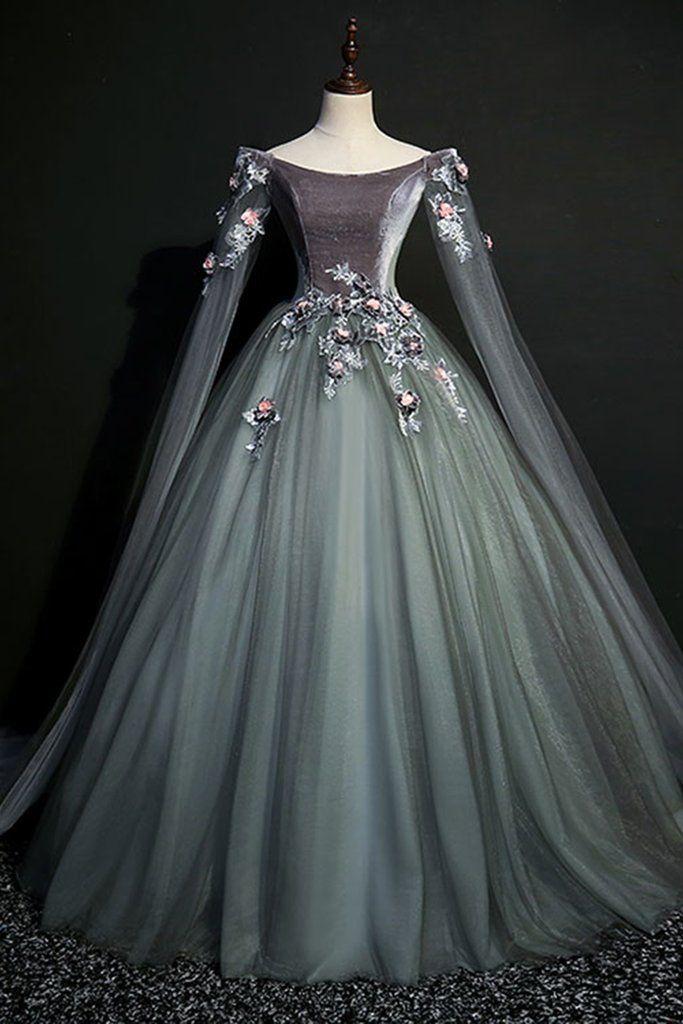 Green gray tulle long sleeve a line evening dress 9e435e5f7990