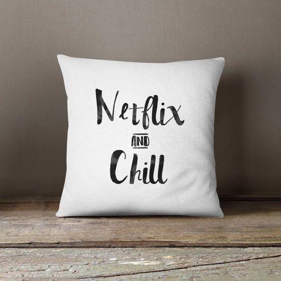 Netflix and Chill - Customize, Throw Pillow, 16x16, 18x18, 20x20, Watercolor, Words, Pillow Cover, Housewarming Gift, Cushion, Netflix, Fun