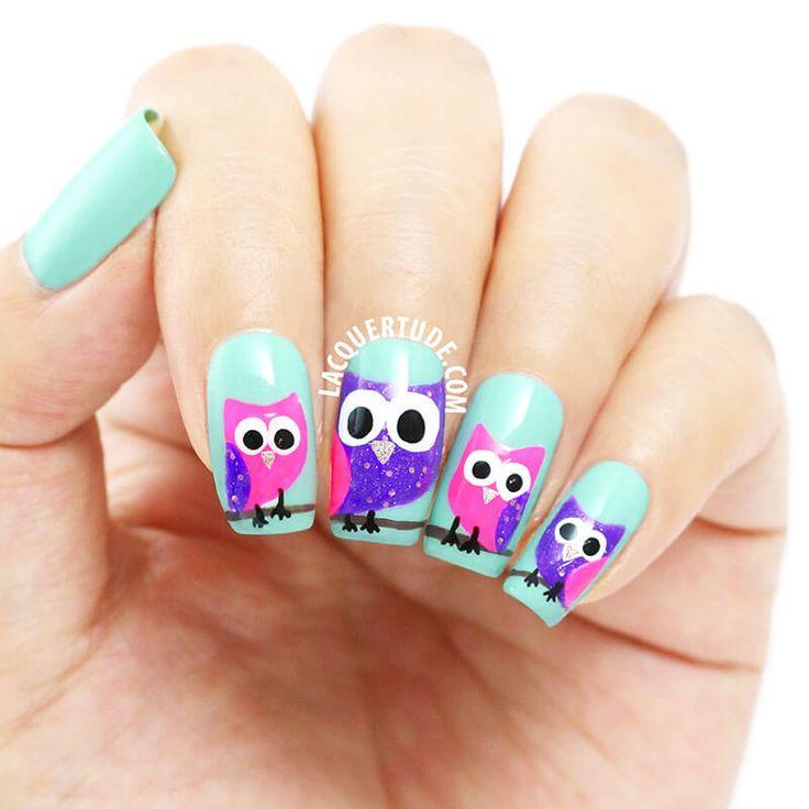 Más de 40 fotos de uñas decoradas con Búhos | Decoración de Uñas - Manicura y Nail Art - Part 3