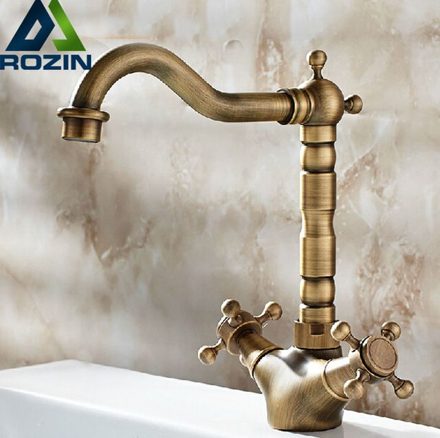 Antique Brass Bathoom Kitchen Faucet Swivel Spout Dual Cross Handles Deck Mounted Lavatory Sink Mixer Taps * You can get more details by clicking on the image. #KitchenFixtures