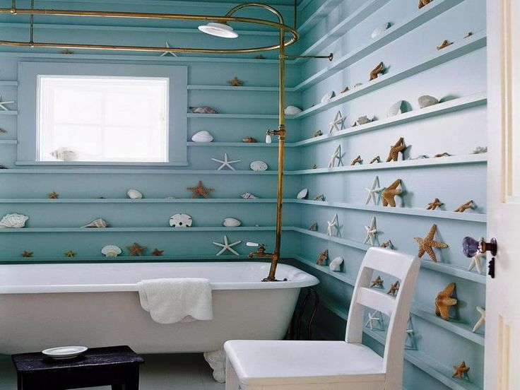 Starfish and Shells Beach Bathroom Decorating Ideas
