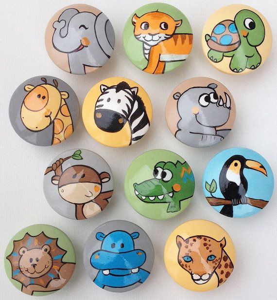 Animal Drawer Pulls / Dresser Knobs / Closet Handles / Hand Painted for Boys, Girls, Kids, Nursery Rooms (Assorted Color Background)