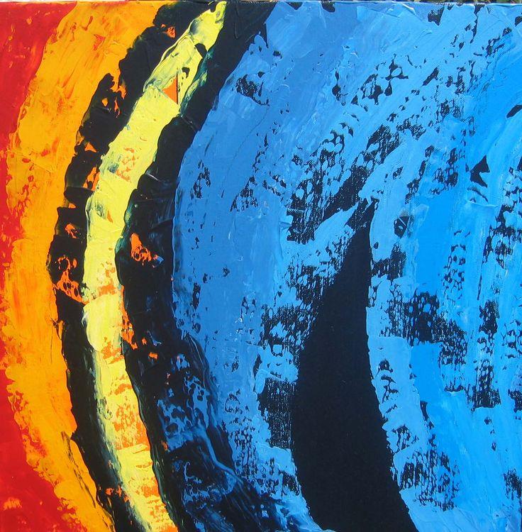 KOMPLEMENTÄRFARBEN GESPACHTELT  / VERKAUFT - Das Wesen der Kunst ist Kontrast. Kunst, welcher Art sie auch sei, erfordert geeignete Entgegensetzung – große, geringere und ganz kleine Kontraste; und in der Plastik - Kontraste der Form, Kontraste von Licht und Schatten, Kontraste der Farbe. Spencer Herbert - 50x50cm