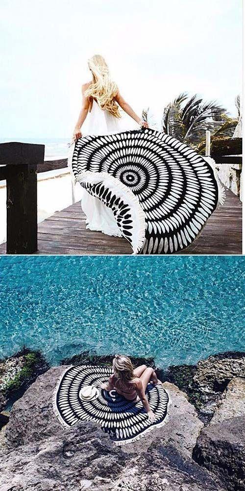 Black Mandala Round Thick Beach Towel Boho Summer