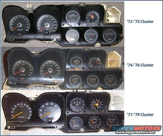Info 72 79 Gauge Clusters And Wiring The Ford Torino Page Forum Page 1 Gauge Cluster Gauges Dash Lights