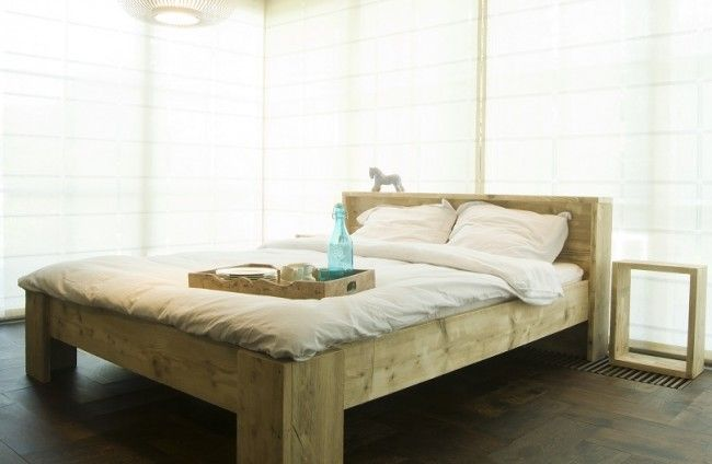 Steigerhout bed 'Simple', steigerhout bedden, bed steigerhout, steigerhouten bed, steigerhout bed by Livengo.nl