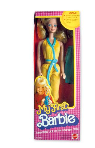 "the original ""My First"" Barbie from 1980. literally my first barbie...she was the best bc her legs were more plastic than rubber so you could get her clothes on a million times more easily."