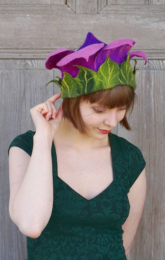 Beautiful felted hat like purple spring flower. This unique designers floral elvish hat will be great addition to your festive outfit. You can wear it for any occasions like party with friends, birthday, wedding or festivals. Light, elegant and fashionable headdress for unusual woman! I made it of soft, high quality merino wool in wet felting process using only hot water and natural soap. It is so light and delicate that you can wear it also in summer!  Head circumference : ca 56 cm ( 22 )