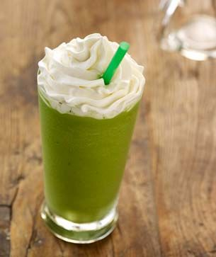 Starbucks Green Tea Frappuccino ////  8 ounce half and half,  6 cubes,  4 oz whipping cream,  2 oz sugar,  1/2 teaspoon of green tea powder ////   Place in a blender for about 30 seconds. ////    Makes 2 cups
