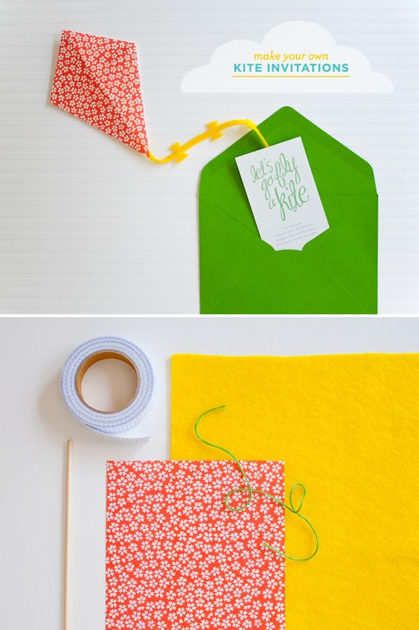 #diy make-your-own-kite-invitations #kidsparty