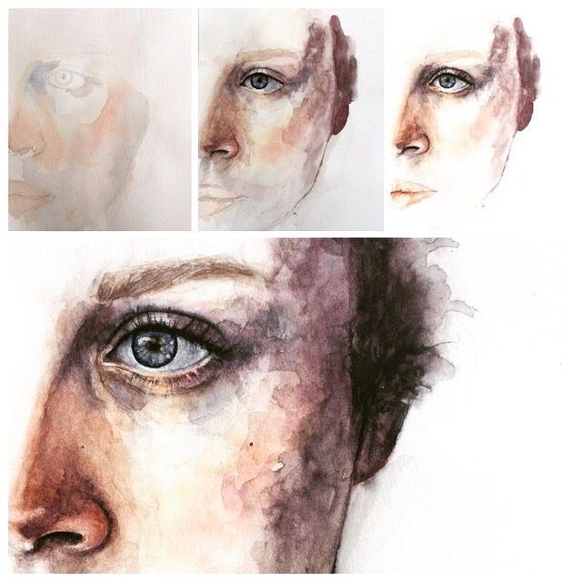 Watercolor portrait painting progress #art