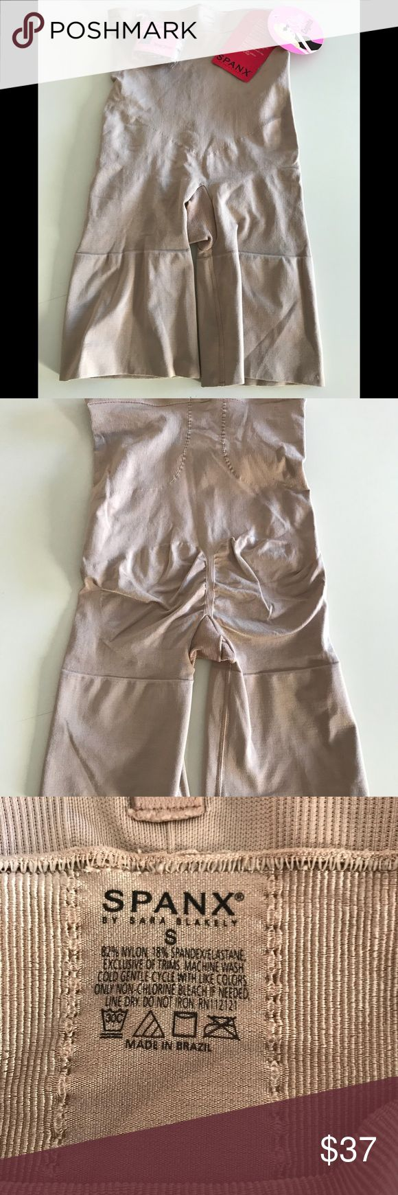 SPANX Shaping Midthigh Bodysuit Size S NWT...nude color...size small...comes with straps so you can wear your own bra...smoke free home. SPANX Intimates & Sleepwear Shapewear