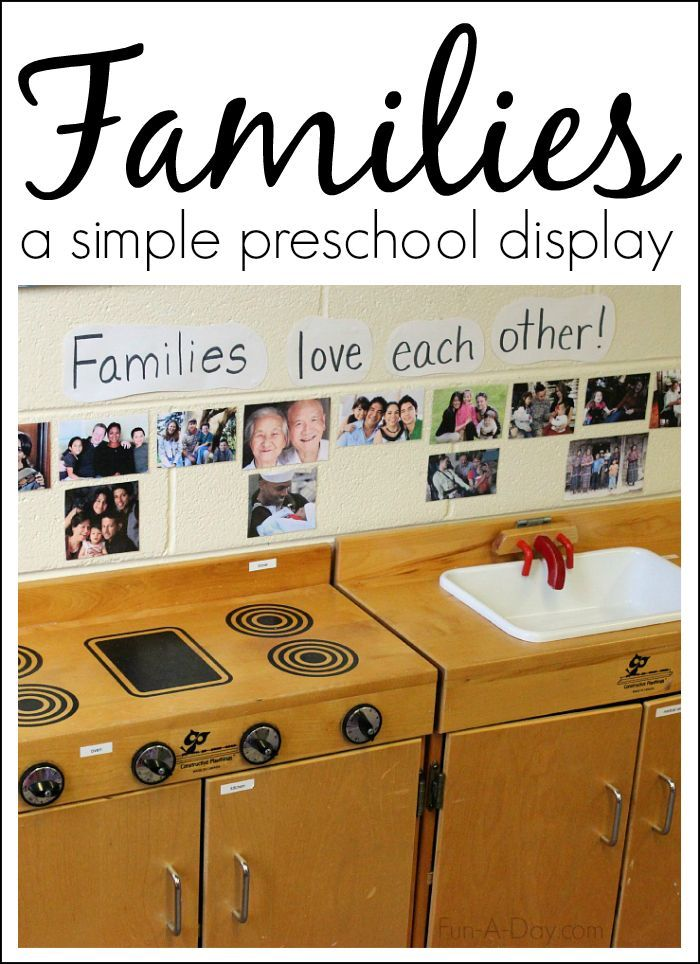 A simple preschool display depicting families around the world and different types of families
