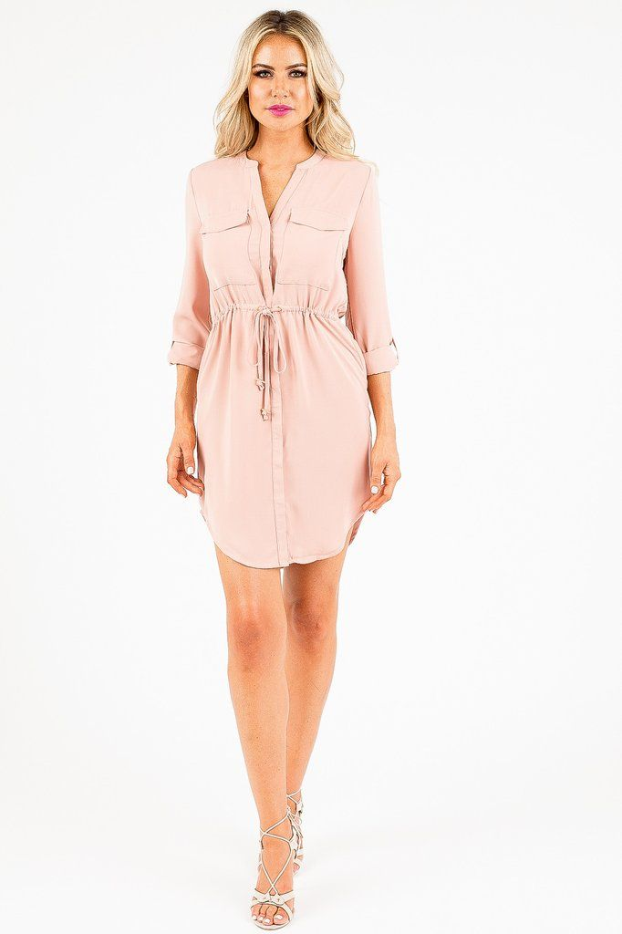 Don't you just love a whole outfit with just one piece? That is what you'll get with this dusty pink dress that features long sleeves, two front pockets and a drawstring under the bust. This is a closet must-have because you can literally wear this piece anywhere, starting from work and continuing on to happy hour later that day!