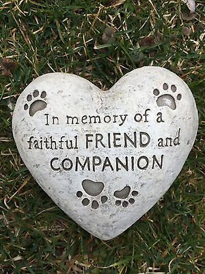 heart shaped paw print dog memorial garden stone statue grave marker headstone http