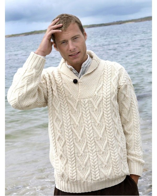 Shawl Collar Mans Irish Aran Sweater Ref: SH 4177 - comes in Natural and Army Green.