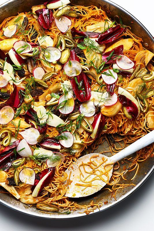 This recipe for fideos from Ken Oringer of Toro in NYC and Boston packs almost every spring vegetable into a one-pan pasta cousin of paella.