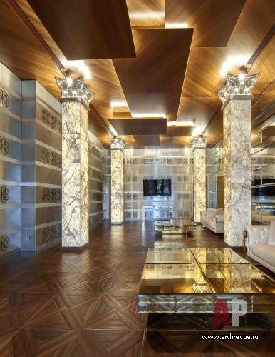 Фото интерьера домашнего кинотеатра дома в стиле авангард. Дизайн интерьера