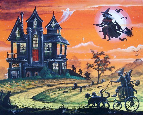 folk art halloween haunted house witch boy girl cats pulling pumpkin carriage - Halloween Haunted Places