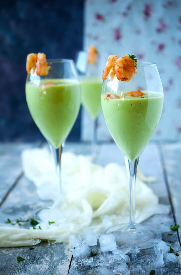Avocado-Coconut Shooter with Fried Garlic, Spicy Shrimp and Basil
