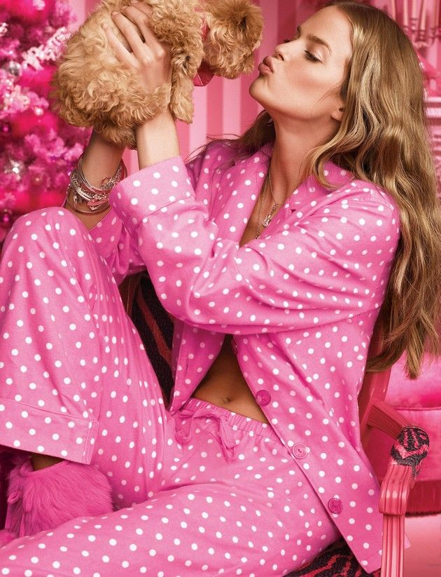 pink polk a dot pjs and puppy.