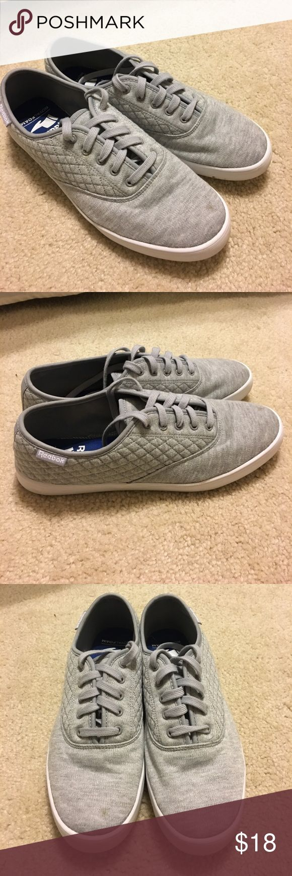 Reebok Royal Tenstall tennis shoe These adorable Reebok tennis shoes are gray in color and quilted on the sides. They feature Reebok's Royal Foam insoles and are so comfortable! They are new and come in the original box. Reebok Shoes Sneakers