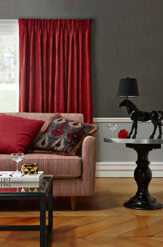 Molmic Polly Sofa // #warm #red tones with Charles Parsons fabrics